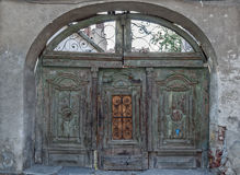 Old green wood gate Stock Images