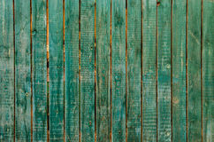 The old green wood texture. Green wood fence as a natural background Stock Image