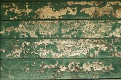 Old painted wood wall. Green texture background Stock Photos