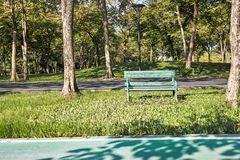 Old green bench on the grass field in the garden with bike lane. The old green wooden bench on the green grass field in the garden with part of bike lane at stock photos