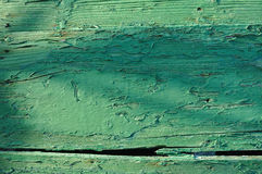 Old green wooden boat hull with paint peeling off Royalty Free Stock Photography