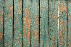 Old green wooden fence background. Texture close up horizontal image Stock Photography