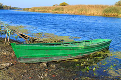 Old green wooden fishing boat Royalty Free Stock Photos