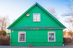 Old green wooden house. In Trakai, Vilnius, Lithuania stock image