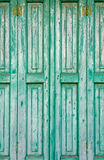 Old Green Wooden Window Shutters Stock Photography