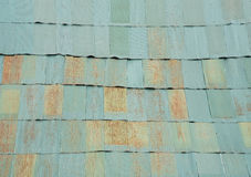 Old green zinc plates pattern with grunge on the roof. Abstract Royalty Free Stock Images