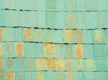Old green zinc plates pattern with grunge on the roof. Abstract Royalty Free Stock Image