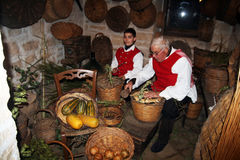 Old greengrocer. A fruiterer old style in a reenactment at bitetto in italy Stock Photos