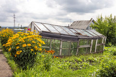 Old greenhouse for growing vegetables made from discarded materi Royalty Free Stock Photo