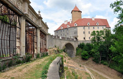 The old greenhouses and Veveri Castle, Czech Republic, Europe Royalty Free Stock Photos