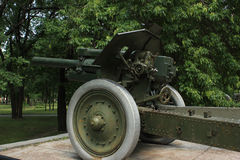 Old greenness cannon gun. Old historic artillery cannon gun Stock Photography