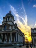 Sunset from the university of Greenwich stock photography