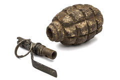 Old grenade and fuse, isolated on white background Stock Image
