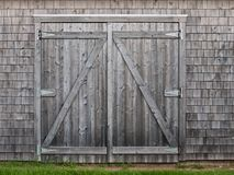 Old cedar barn doors Stock Photo