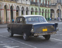 Old Grey Classic Cuban Car. Parked in street, Havana Royalty Free Stock Photo