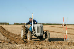 Old grey massey fergusen tractor at ploughing match Royalty Free Stock Photos