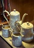 Old grey metallic jug. In the dark room Stock Image