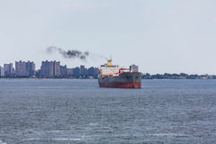 Old Grey and Red Tanker off Coast Royalty Free Stock Photos