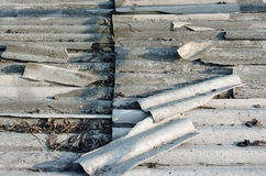 Old grey roof tiles, top view Royalty Free Stock Photo