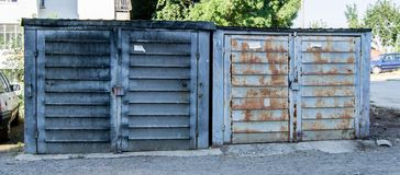 Old, grey, rusty, abandoned garages Royalty Free Stock Photography