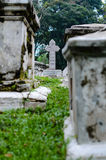 Old grey tombstones. Cemetery in Malaysia Stock Photo