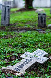 Old grey tombstones. Cemetery in Malaysia Royalty Free Stock Image