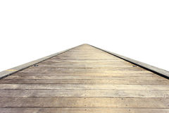 Old grey wooden bridge or walkway isolated on white. Background Royalty Free Stock Photo