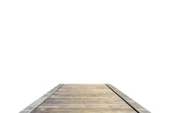 Old grey wooden bridge or walkway isolated on white. Background Royalty Free Stock Images