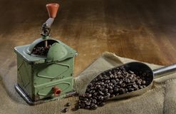 Old grinder of coffee royalty free stock photography