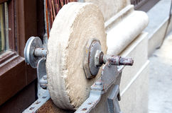 Old grinding stone round Royalty Free Stock Photography