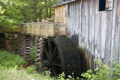 Old Grist Mill. With Water Wheel in Cades Cove Stock Photography