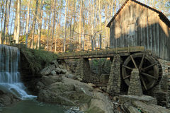 Old Grist Mill - Marietta, Georgia. Old Stone and Wood Grist Mill with Waterfall - Marietta, Georgia Stock Photos