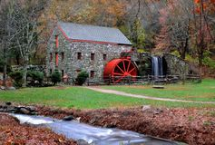 The Old Grist Mill - Sudbury, Ma on October 24, 2014 - by Eric L. Johnson Photography. Shot the day after the Huge flood ; you will Never see the Water so High Royalty Free Stock Photo