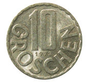Old 10 Groschen Austrian coin stock photos