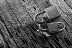 Old group of padlocks  on grunge wooden background,black. Old group of padlocks display on grunge wooden background,black & white Royalty Free Stock Photos