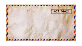 Old grunge airmail envelope. Isolated on white Stock Photo