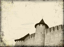 Old grunge art background with castle. Old grunge art background with medieval castle Stock Photography