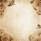 Old grunge background with roses Stock Photo