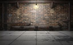 Old grunge basement room with rust pipes. 3d rendering royalty free illustration