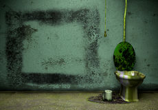 Old grunge bathroom. Vintage room interior, old floor and wall and toilet Royalty Free Stock Photos