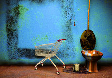 Old grunge bathroom. Vintage room interior, old floor and wall and toilet Stock Image