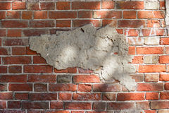 Old grunge brick wall background frame for design, copy space Royalty Free Stock Image