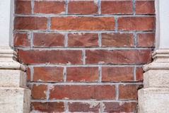 Old grunge brick wall with pilars  background Royalty Free Stock Photo