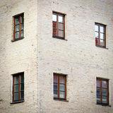 Old grunge brick wall with six windows Royalty Free Stock Images