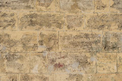 Old grunge brick wall texture. Old beige grunge brick wall textured surface Stock Photos