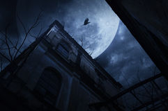 Old grunge building with bird and dead tree at night over cloudy Stock Photo
