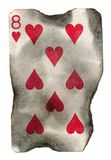 Old grunge burned playing card eight of  hearts Stock Image