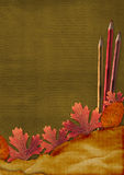 Old grunge card with autumn leaves an Royalty Free Stock Photo
