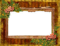 Old grunge card with autumn leaves Stock Photo