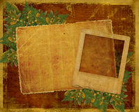 Old grunge card with autumn leaves. Stock Image